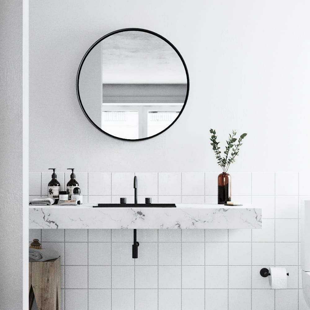 white bathroom with marble vanity