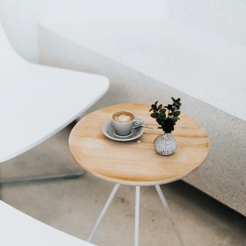 coffee table with cappuccino