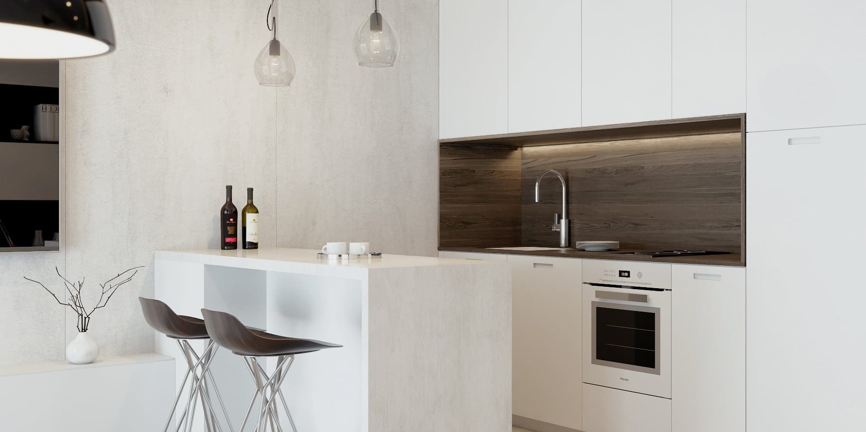 white kitchen with marble island
