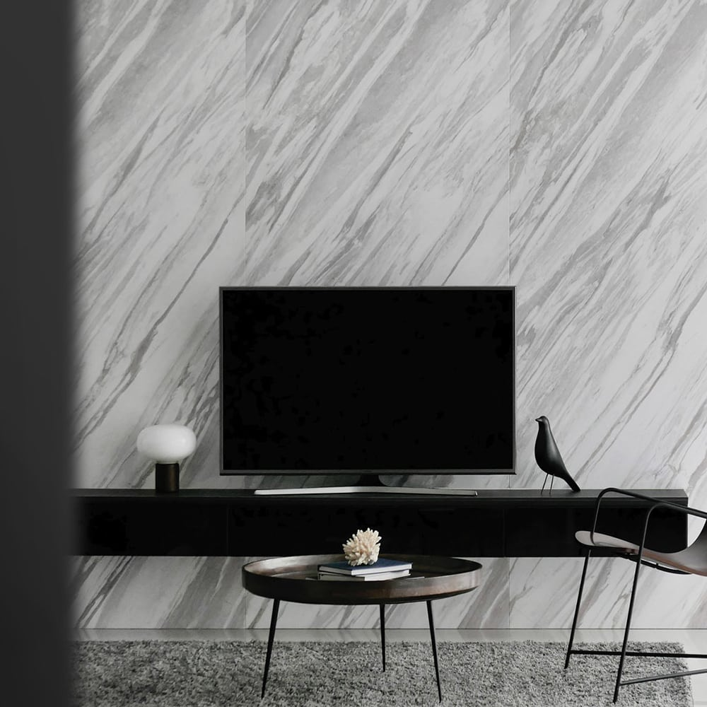 modern entertainment room marble accent wall