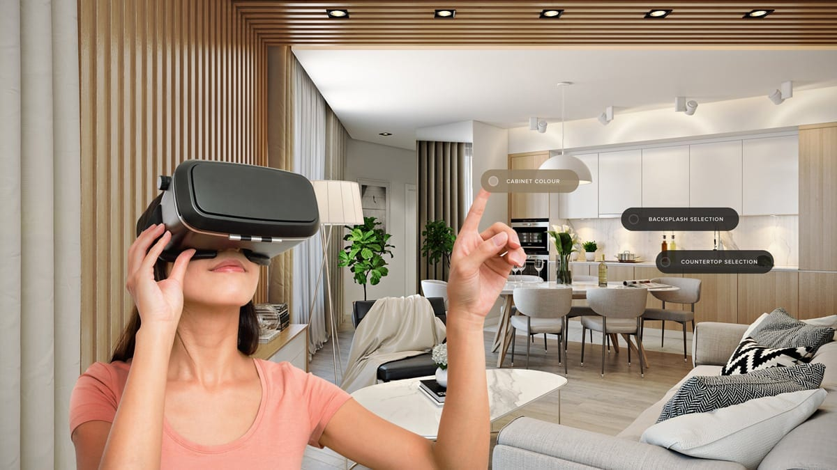 woman using vr choosing finish selections for her kitchen